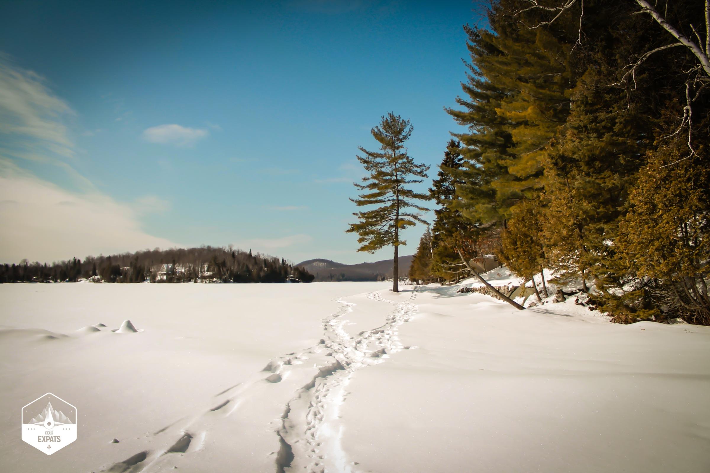Raquette sur un lac gelé pendant l'hiver au Québec